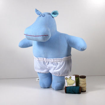 Blue stuffed hippo - Soft doll with white underpants - Dress up doll or hippopotamus toy which is a great blue toy for girls and boys