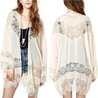 Women Vintage Hippie Boho Kimono Cardigan Hollow Out Lace Crochet Chiffon Outwear Tops Blouse = 4904900996
