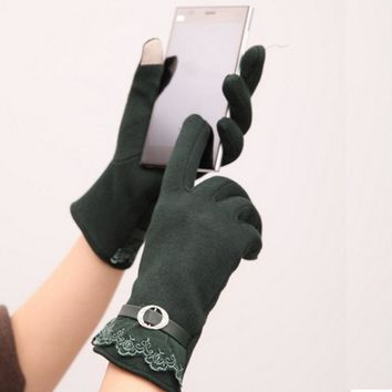 Fashion Design Cotton Women Touch Screen Lace Gloves Cute Lady Gloves 5 Color Stylish Gift