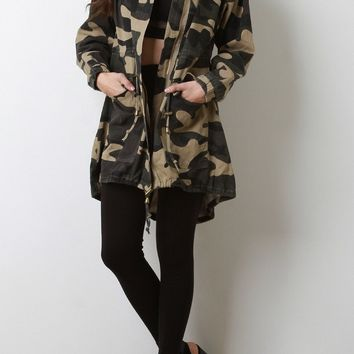 Stand Collar Camouflage Utility Jacket