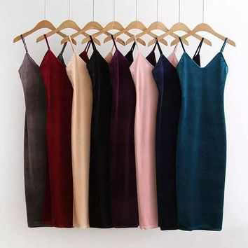 ca PEAPTM4 Women's Fashion Spaghetti Strap Prom Dress Velvet Winter One Piece Dress [10203229447]