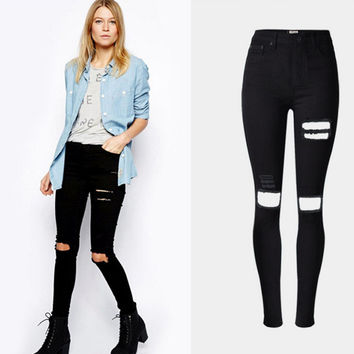 Black Broken Hole Design Elastic Waist Jeans
