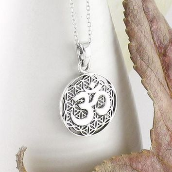 Om Necklace with Flower of Life in Sterling Silver