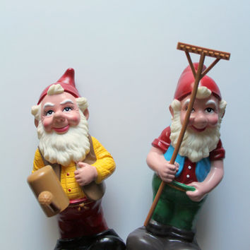 Vintage Pair of Artline Gnome Statues 1992