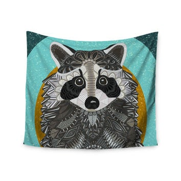 """Art Love Passion """"Racoon in Grass"""" Gray Teal Wall Tapestry"""
