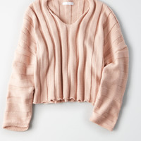 Don't Ask Why Thick Rib Cropped Sweater, Ballet Pink