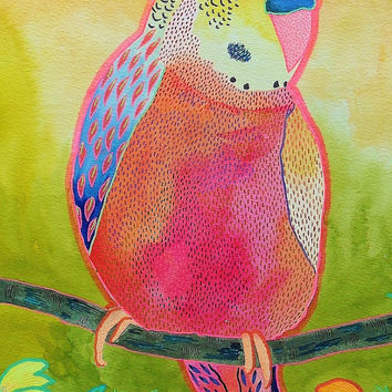Budgie Painting - Budgie Print - Colorful Budgie - Budgerigar Print - Pink Budgie - Bird Art  - Colorful Bird Print - Pink Bird Painting