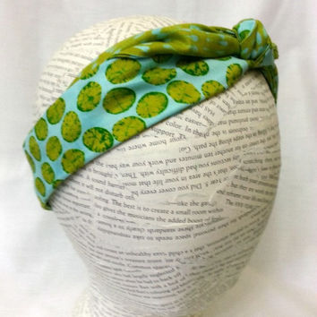 Reversible Knot Tie Headband - Head Wrap - One Size Fits All -  Womens Teen Tween Toddler Infant Head Wrap - Avocado Green and Aqua