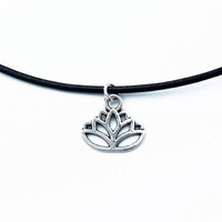 SALE Silver Flower Lotus Choker Necklace with Leather Cord | choose from 9 color cords