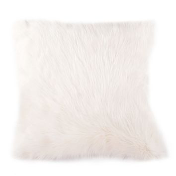 A Home Mongolian Lamb Fur Pillow, Natural White