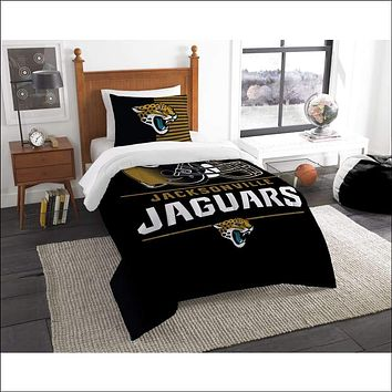 """Jaguars OFFICIAL National Football League, Bedding, """"""""Draft"""""""" Printed Twin Comforter (64""""""""x 86"""""""") & 1 Sham (24""""""""x 30"""""""") Set  by The Northwest Company"""