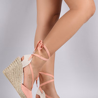 Qupid Lace Up Jute Rope Espadrille Wedge
