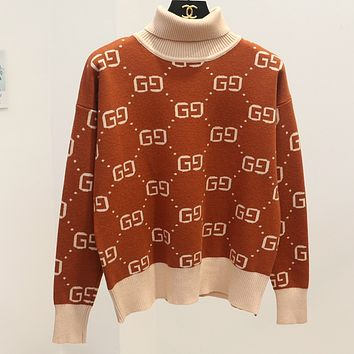 GUCCI fall and winter models fashion Joker primer shirt g g letter sweater Brown