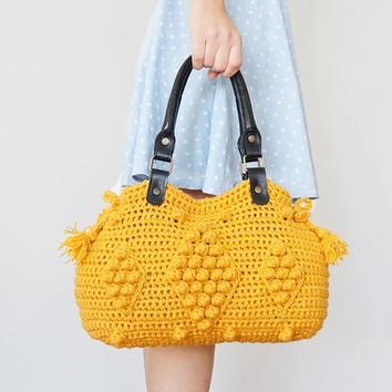BAG // Yellow Shoulder Bag Celebrity Style With Genuine Leather Black Handles