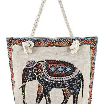 Boho Inspired Elephant Print Oversized Canvas Tote Bag Purse - 2 PRINTS