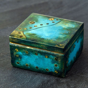 Wood Jewelry BOX steampunk style, metal, workshop, craft - small wooden box for Jewelry, small gifts, treasures & trinkets.