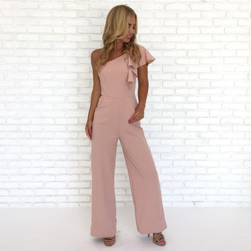 Party Time Ruffle One Shoulder Jumpsuit In Pink
