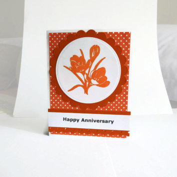Orange Flowers Anniversary Card Anniversary card