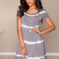 Shawna Tie-Dye Dress - Gray