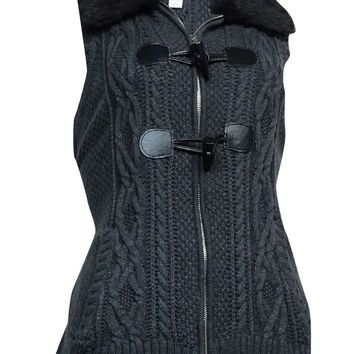Charter Club Women's Faux Fur Toggle Knit Vest