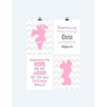 Minnie Mouse Christian Nursery Decor Set of 4 Prints - Chevron Pink and Gray with Bible Verses