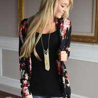 Black Rose Print Cardigan