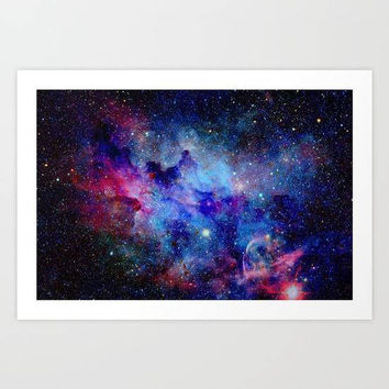 Galaxy Art Print, Blue Glitter Wall Art, Astronomy Art Print, Stars Wall Art, Galaxy Bedroom Decor, Galaxy Decor, Outer Space Art Print