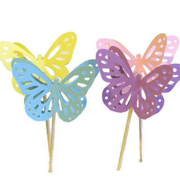 12 Pastel Butterfly Cupcake Toppers - Pretty Shower Decorations