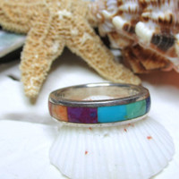 Sterling Silver Inlay Turquoise Rainbow Ring 5g Size 8.5