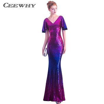 CEEWHY Short Sleeve Sequined Prom Dresses Mermaid Evening Dresses Long Prom Party Gown Formal Dress Evening Vestido Longo