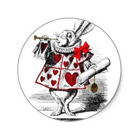 The White Rabbit Round Stickers from Zazzle.com