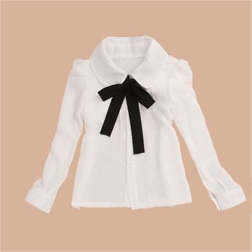 Shirts For Girls Chiffon Teenage  Big Kid Format White Blouse Bow Full Sleeve Baby Clothes  Girls Top