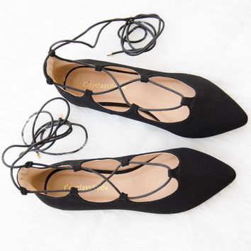 Ballet Lace Up Pointy Toe Flat