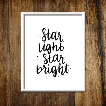 Star Light Star Bright Black and White Boy Girl Nursery Room Typography Wall Art Digital Print Home Decor Wall Decor Fine Handwritten Print
