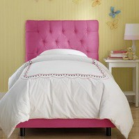Skyline Furniture Tufted Micro-Suede Youth Bed in Hot Pink | Wayfair