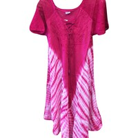 Womans Beach Dress Pink Tie Dye Embroidered Rayon Tank Top Dresses: Amazon.ca: Clothing & Accessories
