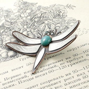 Mixed metals dragonfly necklace. Big Dragonfly pendant with turquoise and blue topaz eyes