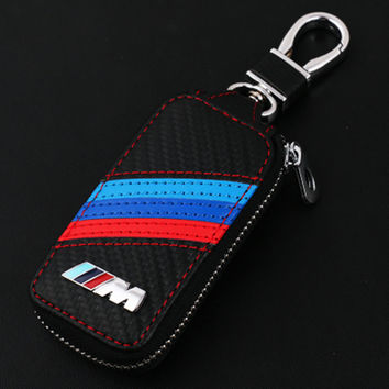 BMW M Series Carbon Fiber & Leather Cover Key Chain