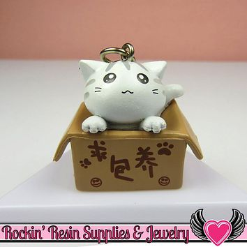 White Anime CAT in a BOX Cellphone Dust Plug Charm or Cabochon
