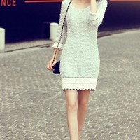 OASAP - Lace Edge Furry Longline Sweater - Street Fashion Store
