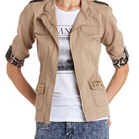 STUDDED PU TRIM ANORAK JACKET