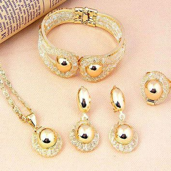 CREYV2S Pixel Jewelry 1985 - African Costume Necklace Set Party Fashion Women Dubai Gold Plated Jewelry Sets