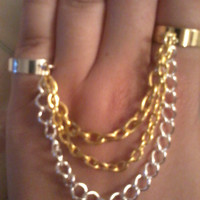 Bohemian Gold and Silver Chain Ring