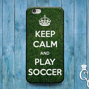iPhone 4 4s 5 5s 5c 6 6s plus + iPod Touch 4th 5th 6th Generation Cute Green Soccer Field Keep Calm Funny Phone Cover Sport Athlete Fun Case