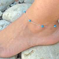 Turquoise Anklet, Turquoise Ankle Bracelet, 925 Sterling Silver Anklet, Foot Jewelry, Beach Jewelry, Foot Bracelet, Handcrafted Anklet
