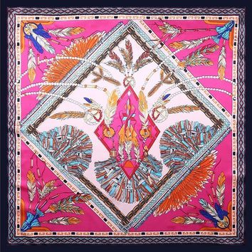 Fashion Vintage Floral Printed Square Silk Scarf Women New Feather Poncho Foulard Red Bandana Joker Big Size Scarf 90*90CM