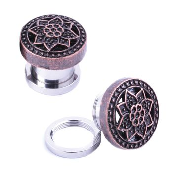 BodyJ4You Plugs Ear Gauges Rose Gold Tribal Flower Lotus Screw Fit 0G 8mm Piercing Jewelry
