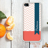 Zig Zag Ribbon Pattern. Customize With Your Name. iPhone 4 // 4s // 5 // 5s // 5c