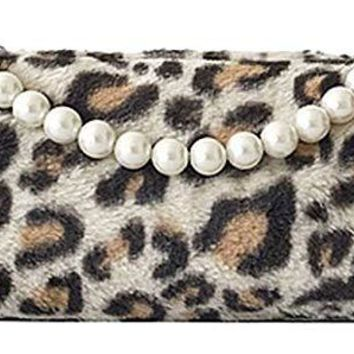 Unique Womens White Leopard Clutch/Shoulder Bag, Purse with 2 Handles (Pearl and Gold Chain)