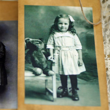 Children and Teddy Bear Tags, Handmade Tags, Tea Stained, Antique Look, Made from Antique Photos of Children  #543